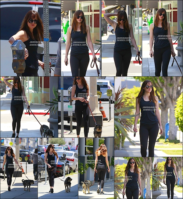 .18/05/17: Dakota  a été photographier en promenant son chien Zeppelin dans les rue de Los Angeles -   Pour cette sortie , Dakota nous a encore sortie un leggins noir , je crois qu'elle aime beaucoup sortir avec des leggins .Votre avis ? top /flop?