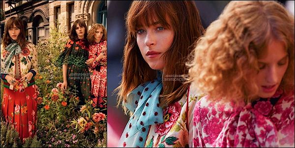 . GUCCI :   Découvrez deux première promotionnel de Dakota pour la marque Gucci Bloom   .