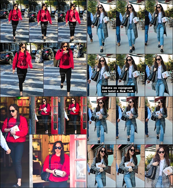 .18.10.2017 : Dakota  a été photographier en arrivant puis quittant une «librairie» dans les quartier de Soho  Puis dans la journée , Dakota a été vu avec son livre à la main en rejoignant son Hôtel à New York ! Qu'en pensez-vous de ces deux tenue ? votre avis ?