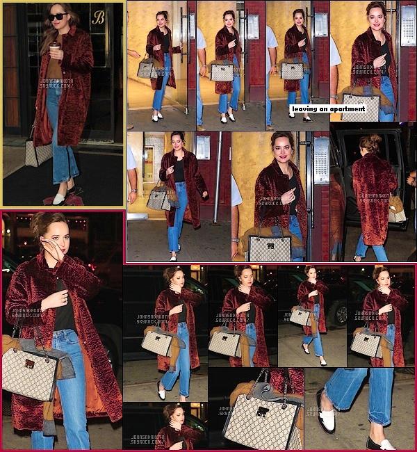 .02.11.17 :  Dakota Johnson a été aperçu en quittant / rentrant au the Bowery Hotel  dans New York City Avant de rentrée a son hôtel,elle était dans un appartement et selon les rumeurs afin de réaliser un shooting photos pour le moment rien n'est confirmée *