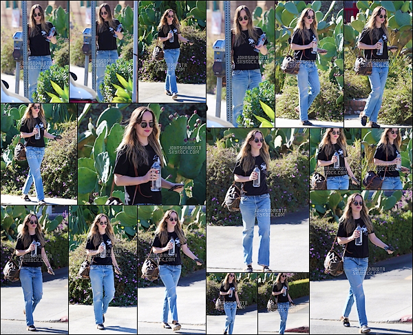 07.12.2017 : Dakota Johnson  a été photographier en allant faire des courses dans la ville d'Hollywood  . Il fait beau à Los Angeles , j'aime beaucoup la tenue qu'elle porte c'est simple . Petite info :  Rita fera une chanson pour l'album Fifty Shades Freed