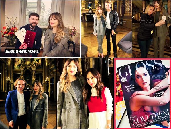 """06.02.2018 : Dakota a été vu de nouveau en pleines interviews située dans les locaux de l'Opéra à Paris.  Dakota enchaine les interviews pour la promo""""Fifty Shades Freed"""" dans la capitale.J'aime beaucoup la tenue que nous a proposée aujourd'hui , Dakota."""
