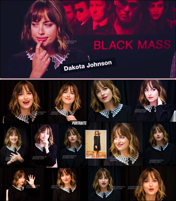 ". 04.09.2015 : Dakota été interviewer par Press Junket avec cast du film ""Black Mass"" lors du Festival du film à Toronto  ."