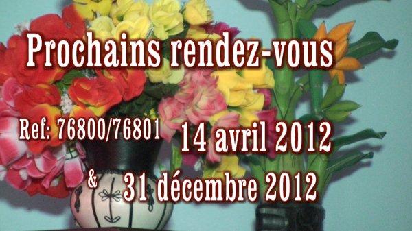 AA.C.F     Prochains Rendez-vous pour l'année 2012
