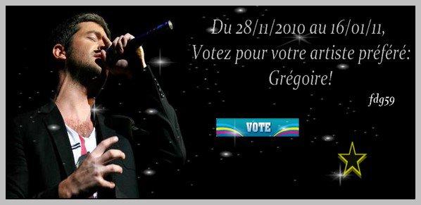 """_________________________________________   Grégoire, nominé dans la catégorie """"Artiste masculin francophone de l'année"""" !    _________________________________________"""