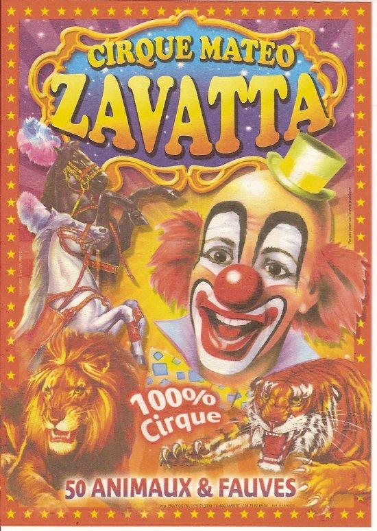 nouvelle affiche du CIRQUE MATEO ZAVATTA (remplacement du cirque HART de BORDEAUX )