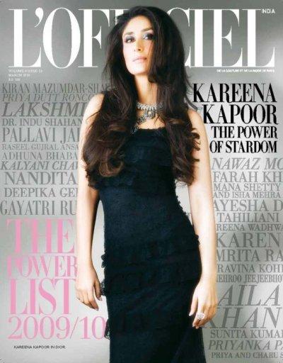 Kareena Kapoor fait la couverture de l'Officiel 2010.
