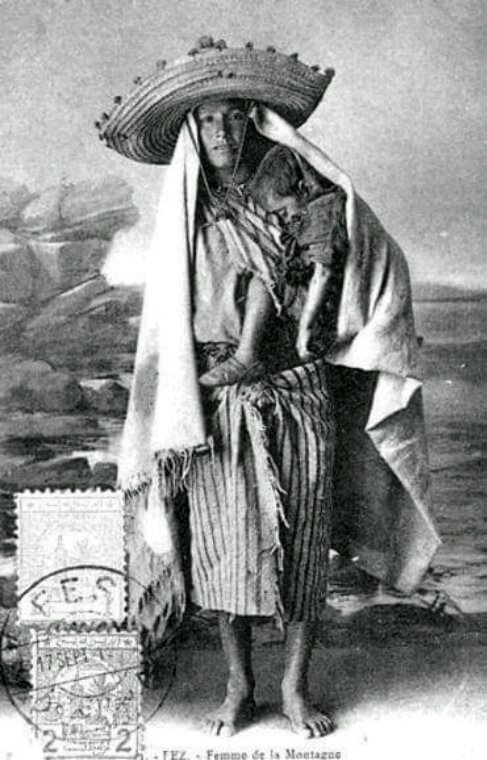 Old postcard berber woman frome the atlas mountains , Morocco.