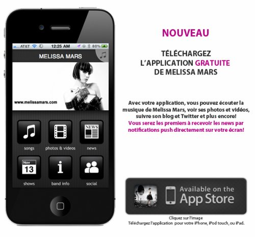 2011 Jun 3 - L'application MELISSA MARS ( iPhone, iPod touch, and iPad on iTunes App Store)