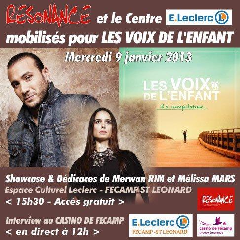 2013 Jan 06 - Melissa Mars & Merwan Rim en showcase à Fécamp pour Les Voix de l'Enfant