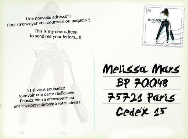 2012 Aug 29 - Nouvelle adresse pour écrire à Melissa Mars