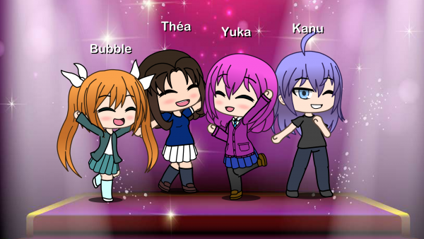 Yuka avec ces 3 amis:Théa,Bubble et Kanu en mode Gacha life