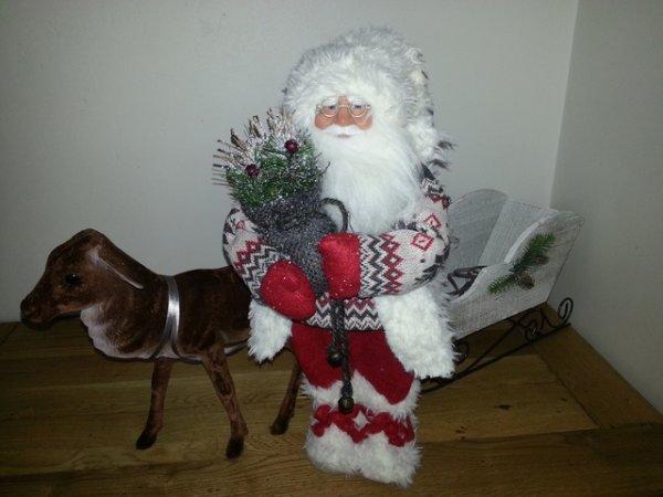 Père Noël avec traineau et renne