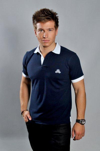 Homme polo Bleu Marine col