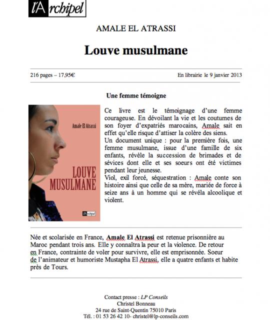 LOUVE MUSULMANE El Atrassi Amale Un livre boulversant...