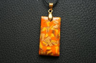 Pendentif rectangulaire jaune orange doré