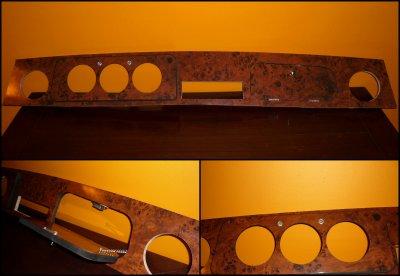 Tableau de bord type Ronce de noyer - Pour MINI a 3 compteurs derrière le volant
