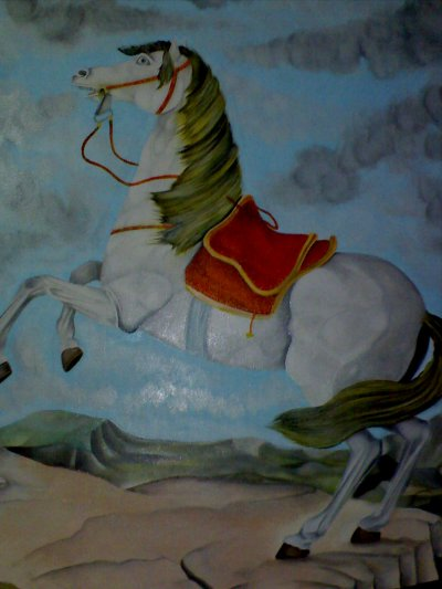 cheval h'uil sur toile