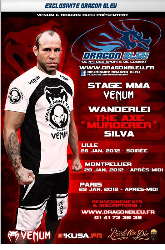 EXCLUSIVITE DRAGON BLEU APRES MAURICIO SHOGUN FIN JANVIER 2012 STAGES WANDERLEI SILVA EN FRANCE LILLE PARIS MONTPELLIER