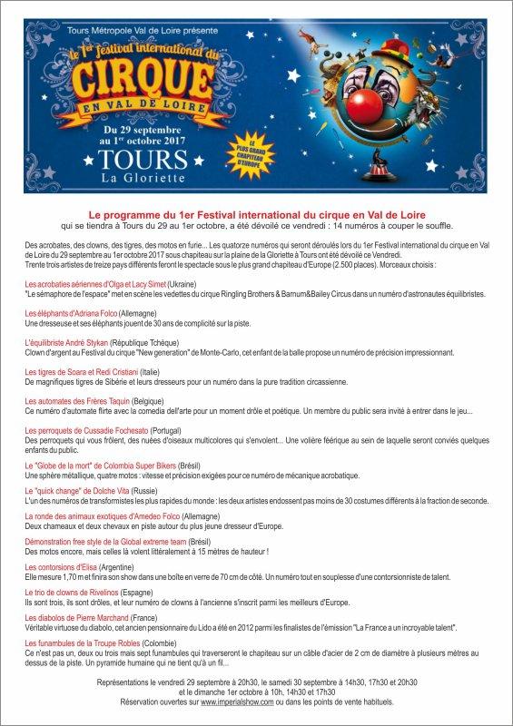 1er FESTIVAL INTERNATIONAL DU CIRQUE à TOURS (37)