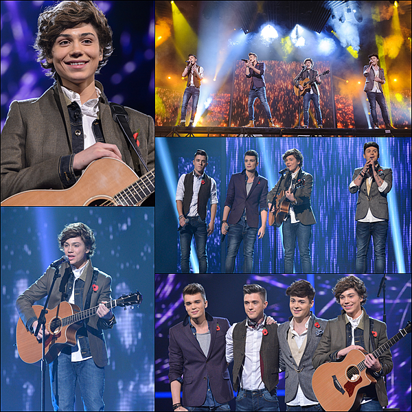 """03.11.12 : Les Union J ont chanter """"Love Story"""" de Taylor Swift, pendant le 5 ème prime de x Factor UK."""