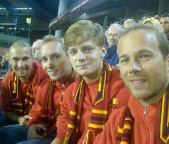 L'équipe de Coupe Davis au stade Roi Baudouin pour encourager les Diables Rouges