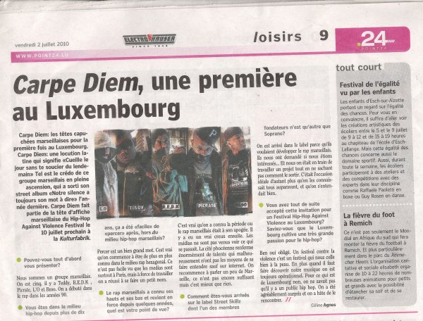 INTERVIEW DE CARPE DIEM FAITES AU LUXEMBOURG