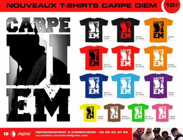 "NOUVEAU TSHIRTS ""CARPE DIEM"" DISPONIBLE !!!  .ıllılı. Facebook Groupe Officiel .ıllılı. Fan Facebook Officiel .ıllılı."