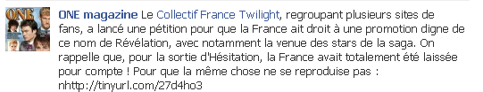 La revue One Magazine apporte son soutien au Collectif France Twilight