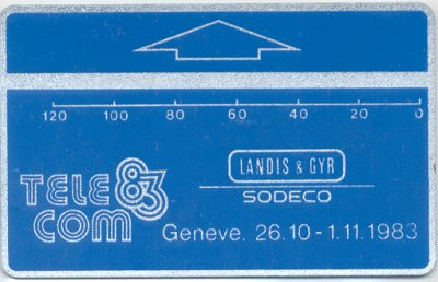 Carte specimen pour le Salon Telecom 1983 à Geneve // Dummy card for the Telecom 1983 fair in Geneva
