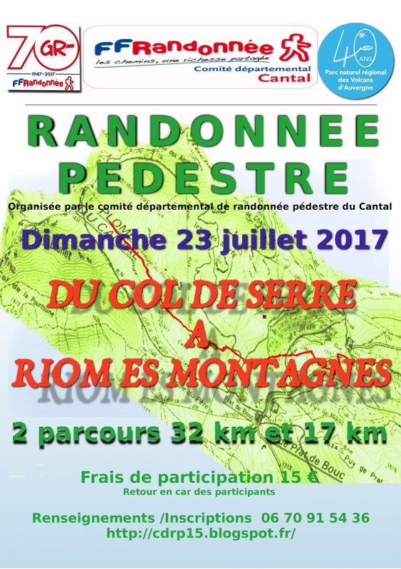 Rando du CDRP 15: dimanche 23 juillet 2017