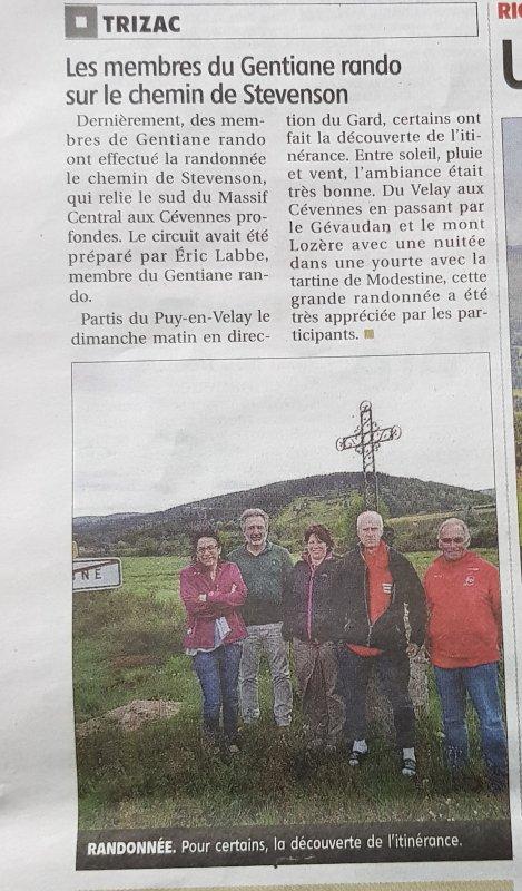 """Article du journal """"La Montagne"""""""