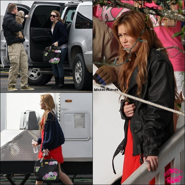 .  Miley, toujours sur le set de « So Undercover », le mardi 11 janvier.    + « Je reviens tout juste d'une réunion avec Tish Cyrus et Suzanne Todd, il était question de faire de « Big Bang » un film !! #jecroiselesdoigts ». Antonina Armato, amie et productrice de Miley.  .