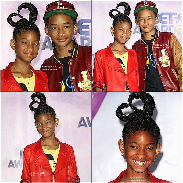 . 26/06/11 :   Willow Smith et Jaden Smith était hier, à la cérémonie des BET Awards dans Los Angeles. Top ou Flop?  .