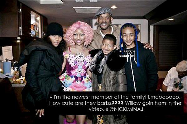 . 05/11/11     La famille Smith  était présent sur le set du clip Fireball en compagnie de Nicki Minaj.  .