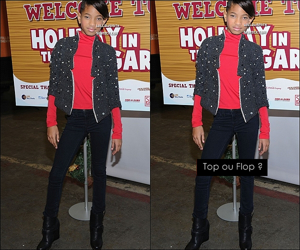 . 06/12/11         Willow Smith  s'est rendue à l'évènement « Holiday in the Hangar » dans New York City.  .