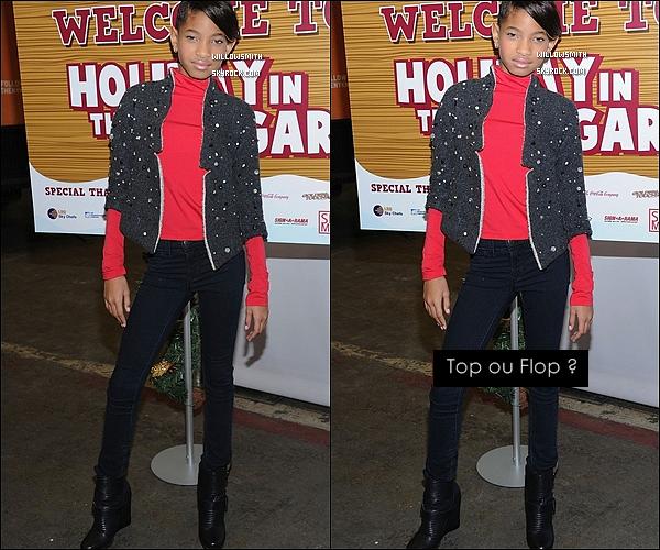 . 06/12/11   Willow Smith  s'est rendue à l'évènement « Holiday in the Hangar » dans New York City.  .