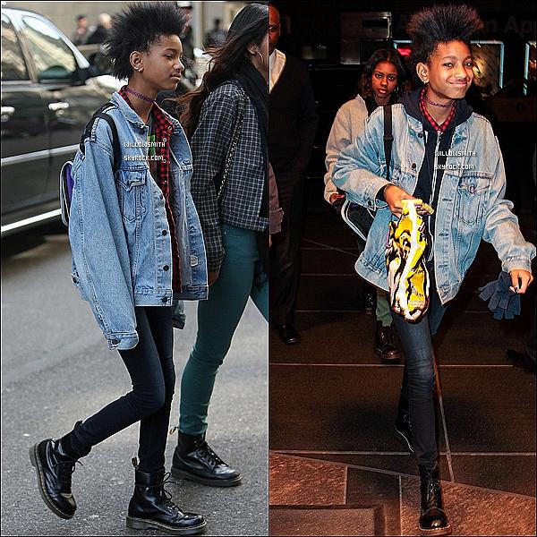 . 04/04 : Willow à été photographiée, le sourire aux lèvres quittant son hôtel avec Rachel dans New York City. J'aime beaucoup sa tenue elle était sublime la veste en jeans lui va a ravir ainsi que les doc martens j'aime beaucoup Top !    .