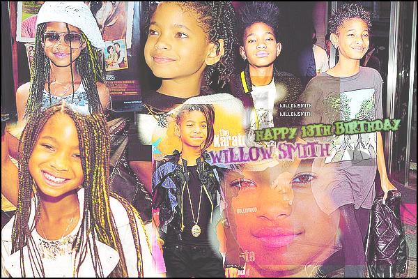 ......  Aujourd'hui en ce 31 octobre 2013 On souhaite tous un joyeux anniversaire à Willow Smith qui viens d'avoir 13 ans en ce jour ! Alors on dis? ♥   Happy Birthday To You, Happy Birthday To You, Happy Birthday To You, Happy ♥ ♪   ......