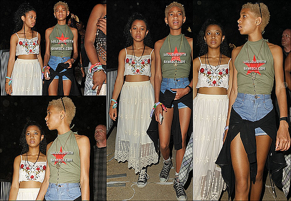 """. 20/04 : Pour ce dernier jour de festivité, Willow à été vue avec Mecca Kalani et Taylor Zaria au """"Coachella"""" de Indio.  Willow Smith était bien sûre accompagné du clan Kardashian, les soeurs Jenner où elles ce sont fait remarquer par les paparazzis!      ."""