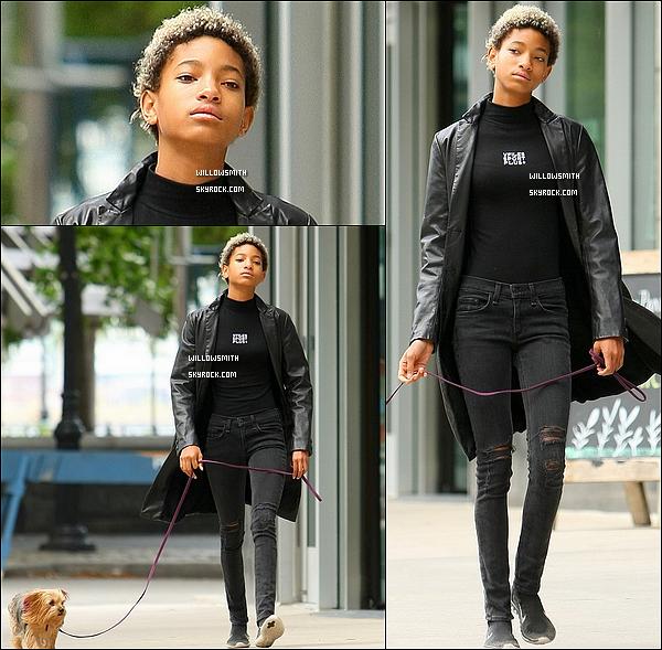 . 08/10 : Willow Smith toute vêtue de noir à été photographiée lorsqu'elle promenait son chien dans la ville de NYC.  Comme je vous l'avez annoncée, Willow est à New-York elle profite de son séjour pour soufflée un peu. Willow est trop sublime !    .