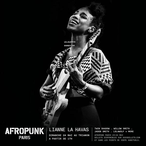......  Willow et Jaden viennent d'être confirmées pour leurs participation au concert de festivité Afro Punk Paris au Trianon qui se passera le 23&24 Mai prochain à Paris, Découvrez l'affiche ci dessous !    ......