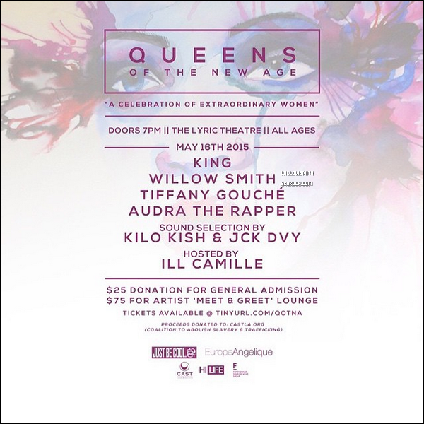 "......  Willow a l'affiche du concert ""QUEENS OF THE NEW AGE"" elle performera le 16 Mai !    ......"