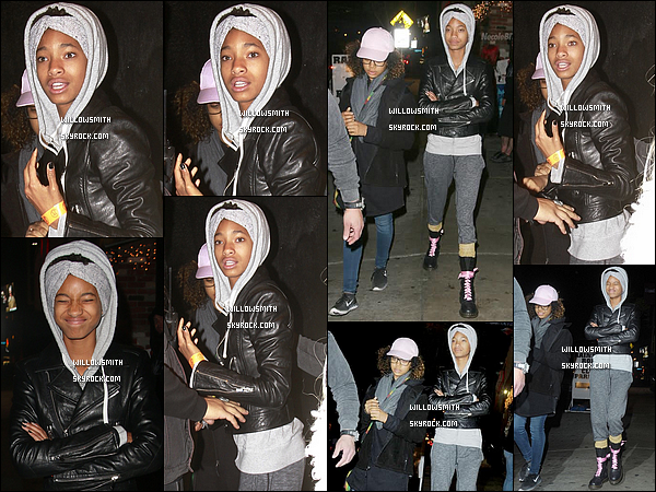 . 10/05 : Enfin une nouvelle sortie de Willy viens de sortir, Willow a été vu arrivant au théâtre « Roxy » à Los Angeles.  Willow était en compagnie de sa meilleure amie Mecca Kalani pour cet sortie entre friends. J'aime beaucoup la tenue de Willow !    .