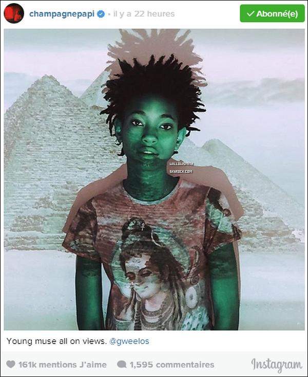 . WILLOW SMITH SUR LE PROCHAIN ALBUM DU RAPPEUR DRAKE !  .  Actuellement en tournée pour son JUNGLE Tour, Drake travaille en parallèle sur son prochain album « Views From The 6 ». L'album de Drizzy est un des albums les plus attendus de cette année bien que certains morceaux aient déjà fuités sur la toile. Drake a encore quelques atouts dans sa manche comme en témoigne l'un de ses derniers posts Instagram. En effet, le rappeur Canadien vient tout juste de publier une photo de la chanteuse Willow Smith et annonce qu'elle sera sur « Views from the 6 » Sachant que Beyoncé, Tinashe et Kendrick Lamar seront également sur l'album du rappeur de Toronto. Willow vient compléter un casting cinq étoiles!  . Source - Trace.tv - créditez pour tout emprunt .
