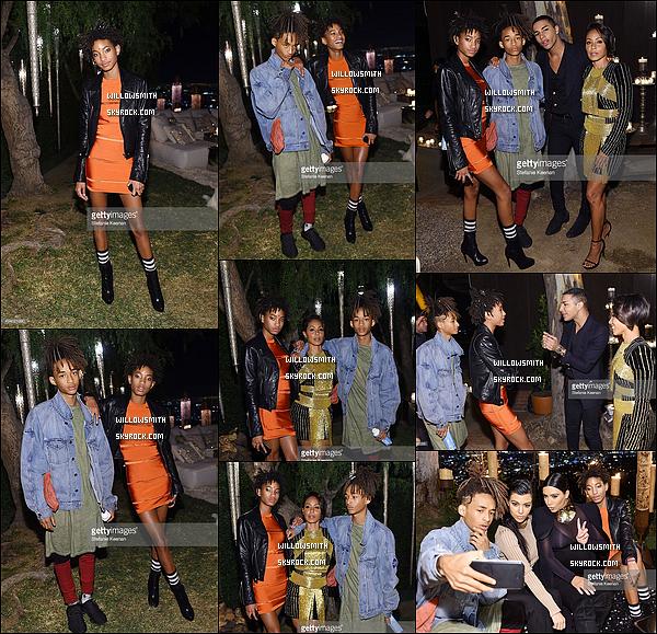 . 23/10 : Willow était à la Birthday Party du styliste Olivier Rousteing pour fêter l'anniversaire de celui - ci dans L.A ! Willow était sublime dans sa robe wowa. Le clan Kardashian ont postées des photos en compagnie des Smith sur leurs Instagram.      .