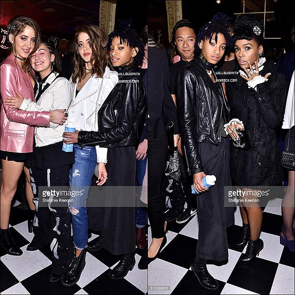 """. 25/02 : Willow Smith dans les backstages de la soirée """"I Love Coco"""" se situant au Chateau Marmont à Los Angeles. Willow était accompagnée de sa meilleure amie Telana Nicole et de Simi et Haze. La soirée était organisé par la marque Chanel       ."""