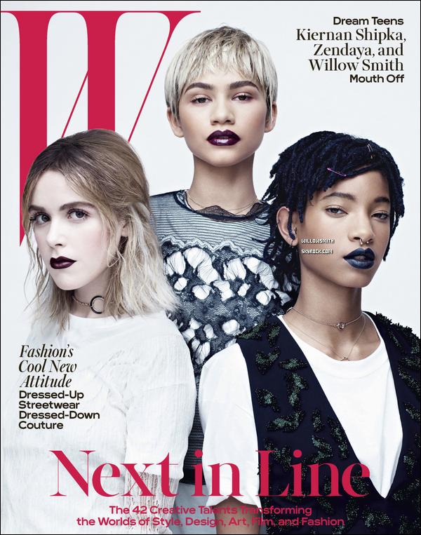 ......  Willow pose avec Zendaya et Kiernan Shipka pour la nouvelle édition de W Magazine.  Elles font toutes les trois la couvertures pour le mois d'Avril prochain. J'aime beaucoup les photos et le maquillage de Willow est top il lui va si bien.    ......