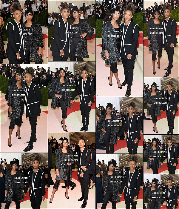 """. 02/05 : Willow et son frère étaient présents hier au """"MET Gala 2016"""" au Metropolitan Museum of Art de New-York. Willow égérie Chanel a portée évidemment une collection de la marque tandis que Jaden portait une tenue signé Louis Vuitton.   ."""