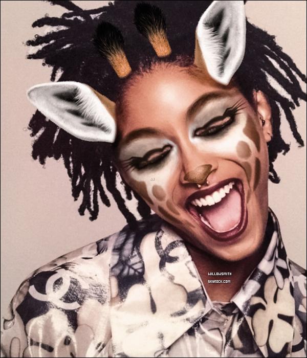 """......  Willow est en couverture de « GARAGE Magazine » en collaboration avec Snapchat.  Willow est en partenariat avec l'application Snapchat pour ce tout nouveau photoshoot un petit clin d'oeil a l'application snapchat pour l'occasion afin de crée un nouveau filtre baptisé """"New Age""""  seulement accessible via l'application de Garage Magazine et Snapchat en collaboration avec Be Cool Be Nice qui est une plateforme dédiée à la lutte contre la cyberintimidation fondée par le compositeur Gerry DeVeaux. Cette couverture est la deuxième pour Willow ce mois-ci vu qu'elle figure également sur le numéro de Septembre du magazine Interview aux côtés de son frère Jaden. Le magazine sortira en kiosque le 8 septembre prochain si vous désirez commander le magazine ça se passe sur le site du magazine il coûte 10,00 ¤ commande le par ici !      ......"""